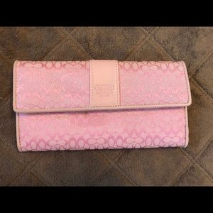 Coach - pink checkbook wallet